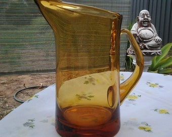 25% off Hand blown Amber Glass Jug - Vintage