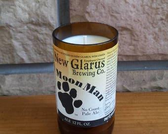 Beer bottle soy wax candle Wisconsin beer New Glarus Moon Man new label