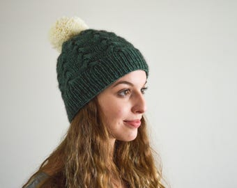 MADE TO ORDER   The Amelie Beanie   Knitted Beanie   Cabled Beanie