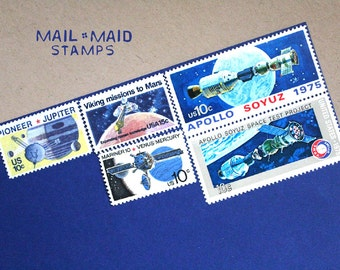 Outer space || Set of unused vintage postage stamps to mail 5 standard letters