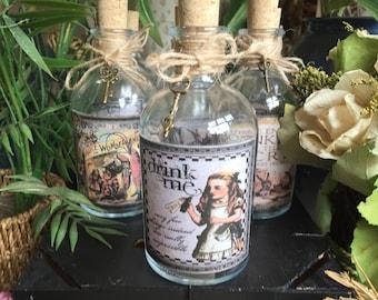 Alice in Wonderland Gift. Alice in Wonderland Bottle. Alice in Wonderland Drink Me Bottle. Alice in Wonderland Decor. Alice Bottle. Bottle.