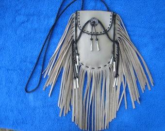Cross body Fringed Leather Bag Native Regalia Jingle Cone Crossbody Bag Leather Bag