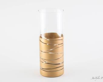 Gold Vase, Gold Dipped Cylinder Vase