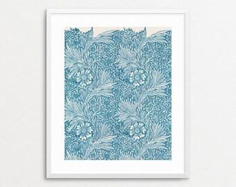 William Morris Wallpaper Block Print, 1875 - Blue - Marigold - Vintage Floral - Home Decor - Wall Art - William Morris Pattern