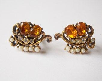 Coro Screw on Earrings Amber Orange Clear Rhinestone Faux Pearl Gold tone Coro Earrings Rhinestone Earrings Faux Pearl Earrings