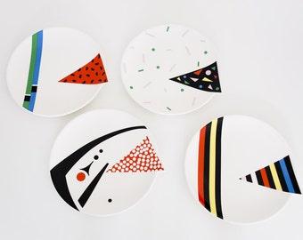 vintage 1980s Kato Kogei Fujimori set of four Alpha-3 plates, postmodern design, excellent condition, eighties decoration desert serving