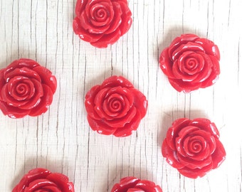 Red rose flower 42MM pendant (2CT) for necklaces bracelets bubblegum necklace girl's jewelry chunky necklace gumball necklace