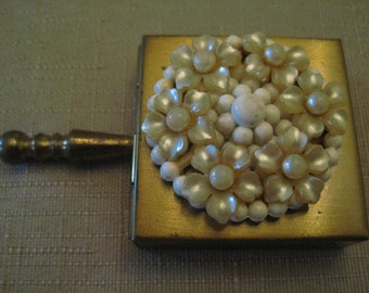 Travel Ashtray Trinket Box Pill Box Faux Pearl And White Lucite Beaded Gold Tone Metal With Handle Pre Owned Vintage