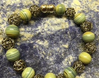 Green Glass and Steel Beaded Bracelet