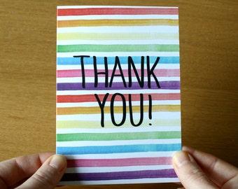 Rainbow Stripe Thank You Card - Greeting Card - Rainbow Stripe - A6 Greeting Card - Notecard - Note Card - Rainbow
