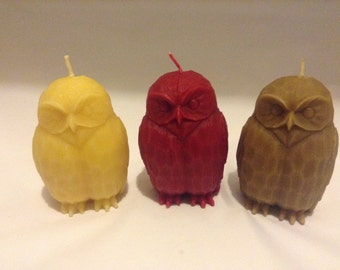 DISCOUNT ALERT:  100% Pure Beeswax Owl Sculpted Pillar Candles (set of 3) - Handmade Candle
