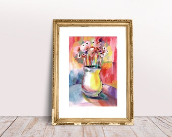 Poppy, flowers, still life, watercolor, gouache, painting, illustration