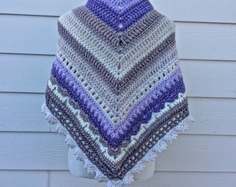 Multi color lavender large Sunday Shawl Wrap warm winter