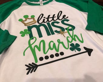 Little Miss March Design on Raglan Sleeve T-Shirt
