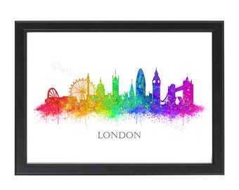 London Skyline Print, London City Skyline Watercolour, London Print, Watercolor Print, London Watercolor Print, Wall art, A4 8x10 Unframed
