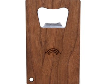 Rainbow Bottle Opener With Wood, Stainless Steel Credit Card Size, Bottle Opener For Your Wallet, Credit Card Size Bottle Opener