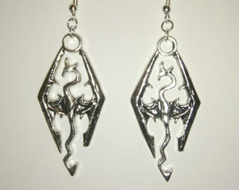 Skyrim Inspired Dragon Drop Earrings With Silver Plated Hooks. Gamer.