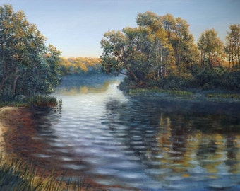 "Original Oil Painting by Oleg Riabchuk ""Morning Fog"""