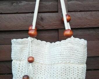 crochet bag, boho style, handmade handbag with corals, ecru, summer hits