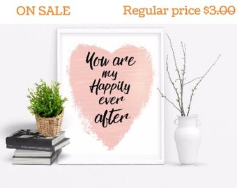 Happily ever after digital art print, Romantic bedroom art, Romantic wall art, Love sign, Love wall art, Valentines day gift,  Gift for wife