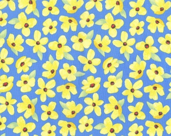 Michael Miller, CX7171-SKY, Sky Breezy Blooms Flower, fabric by the yard