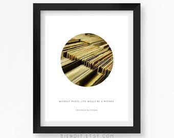 Without Music Life would be a Mistake, Friedrich Nietzsche, Quote Print, Music Print, Music Quote, Records, Vintage Records, Literary Art