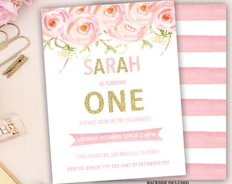 floral first birthday invitation, pink and gold party invite, girl first birthday invitation, watercolor floral birthday, 1st 2nd 3rd bday