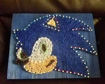 Sonic the hedgehog inspired string art sign- Boys room/Game Room/Gaming/Nintendo