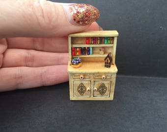 Miniature 1/48th scale quarter inch scale Welsh dresser with extras