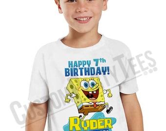 Spongebob Birthday Shirt Add Name & AGE Personalized Spongebob Squarepants Birthday TShirt