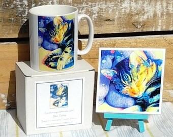 Blue Tabby cat art print ceramic mug and tile coaster set