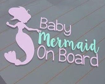 Baby Mermaid on Board Car Sticker