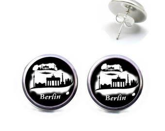 Studs 12 mm cabochon jewelry BERLIN Brandenburg Gate