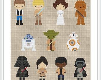 Star Wars cross stitch pattern PDF Pixel people Starwars trilogy Counted cross stitch chart X219