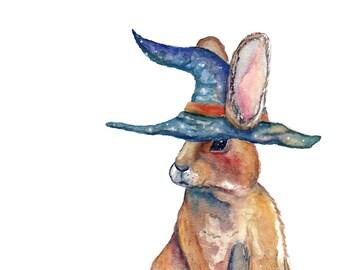 Magical Bunny Rabbit with Wizard Hat - Unique Original Illustration - Wall Art Print - Poster
