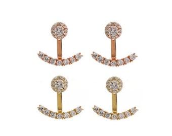 Crystal Ear Jacket Earrings, Stud Earrings, Versatile Earrings, Crystal Studs, Bridesmaid Jewelry | Suradesires