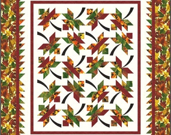 Falling into Autumn quilt pattern (throw, table runner placemats)