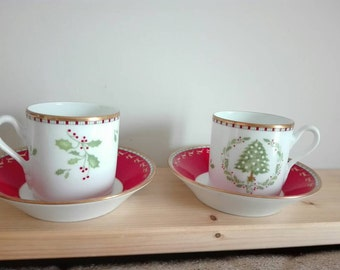 vintage Christmas cardboard, 2 cups, richard ginori ceramics