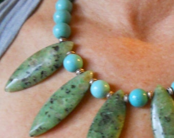 Turquoise and adventurine necklace