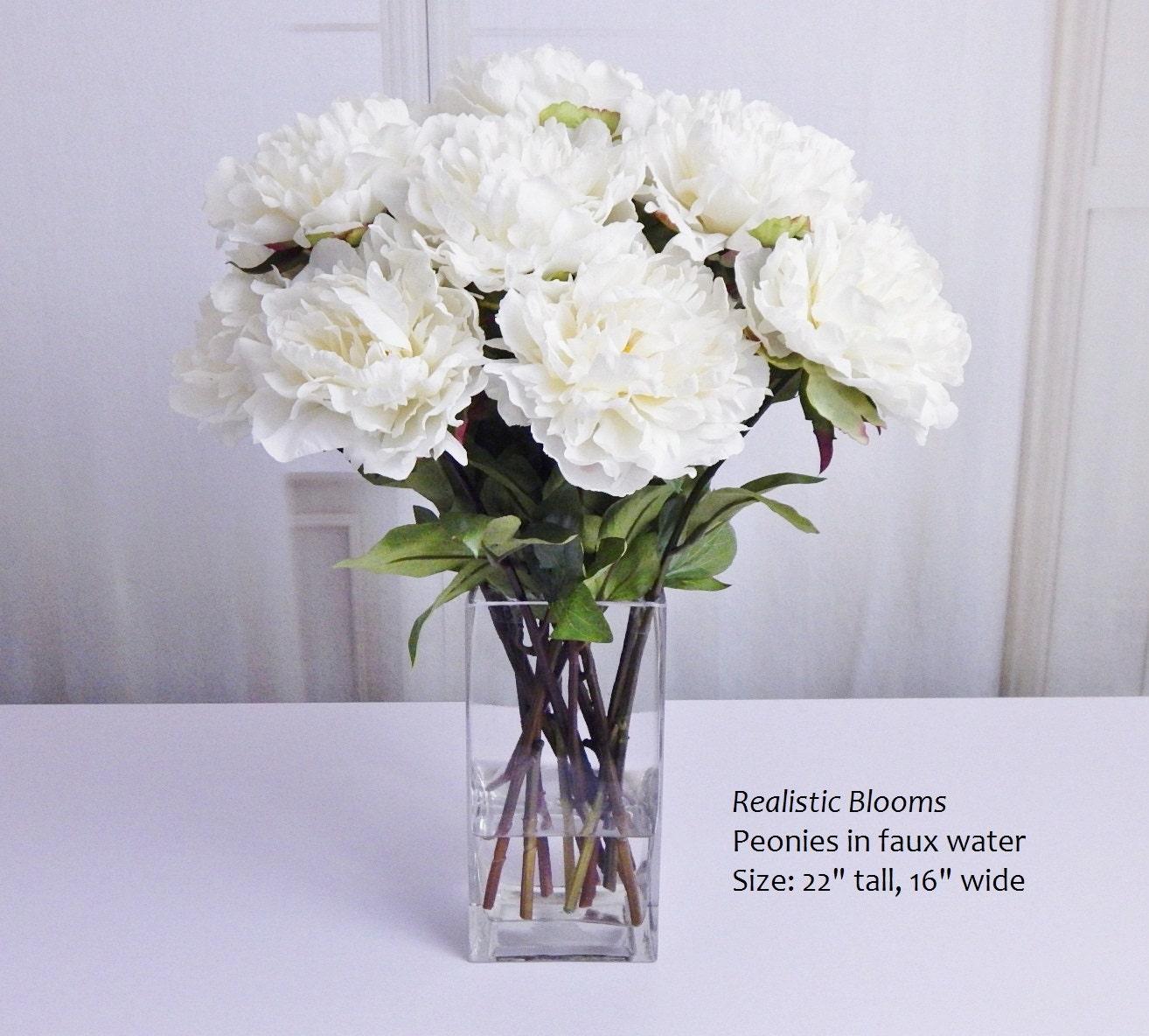 White cream pink silk peonypeonies glass vase faux water white cream pink silk peonypeonies glass vase faux water acrylicillusion real touch flowers tall floral arrangement centerpiece reviewsmspy