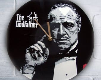 The Godfather painted retro vinyl clock. Don Corleone