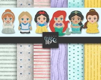 Princess Digital Clipart: Disney Princess Clipart | Disney paper | digital paper disney | digital clip art | Scrapbook paper digital clipart