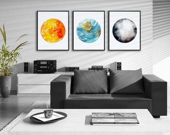 Sun, Earth and Moon Watercolor Art Prints - Set of 3 Planet Prints - Astronomy Art Decor - Space Poster