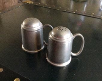 A.L. Handle Pewter Miniature Tankard Salt & Pepper Shakers