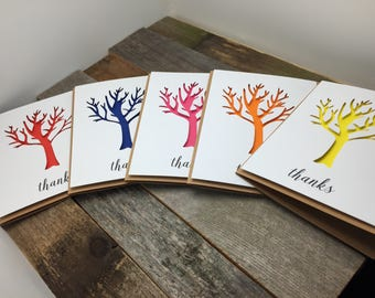 Tree Thank You Cards, Colorful Thank You Cards, Tree Cards, Thank You Cards, Set of 5 Thank You Cards, Set of 5 Thank You Cards