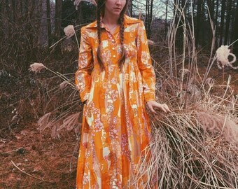 60's psychedelic patterned 100% cotton collared maxi dress by Bill Atkinson - Glen of Michigan