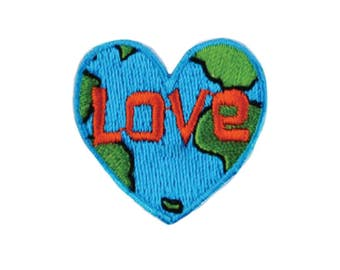 Love Earth Iron On Applique, Love Patch, Heart Iron On Patch, Fun Patch, World Peace Patch, Embroidered Patch (110258)