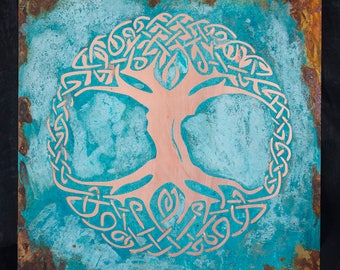 Circular  celtic knot like, Copper tree of life patina art