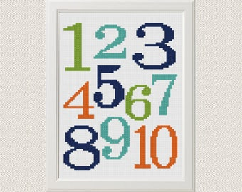 numbers Cross stitch Arithmetic for Kids Cross Stitch Numbers 1 to 10 Cross Stitch pattern PDF Instant Digital Download