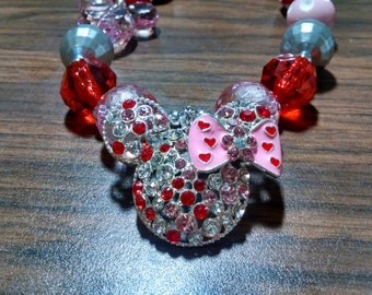 Valentine's Day Mouse Inspired Chunky Bubblegum Necklace.  Mouse Rhinestone Chunky Gumball Necklace